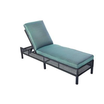 Hampton bay fenton adjustable patio chaise lounge with for Chaise cushion sale