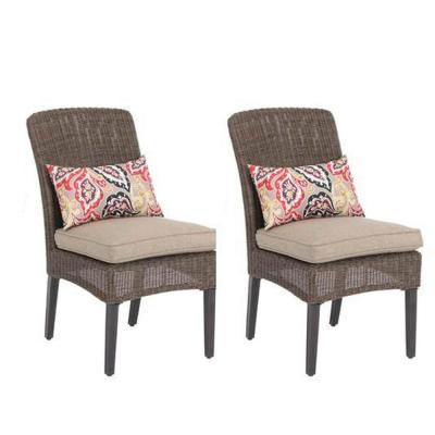 Hampton Bay Walnut Creek Patio Dining Chair With Wheat
