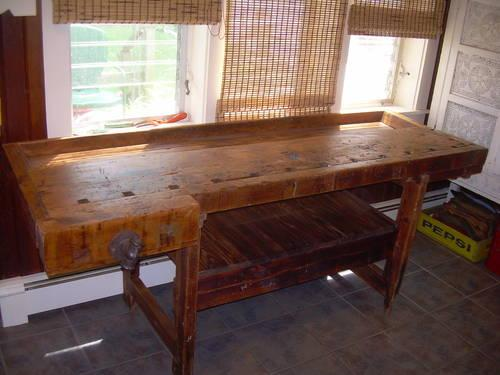 Hand Built Antique Woodworkers Bench Table Kitchen Island
