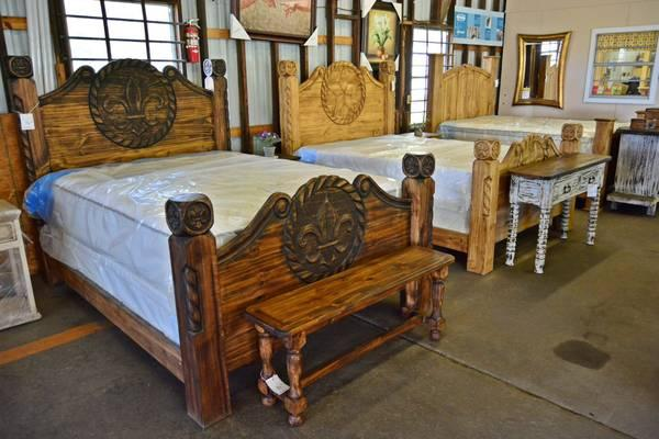 Hand carved fleur de lis lowest prices on rustic - Rustic bedroom furniture for sale ...