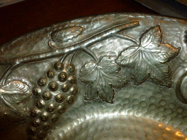 Hand hammeredembossed silver plated BOWL DISH - $30