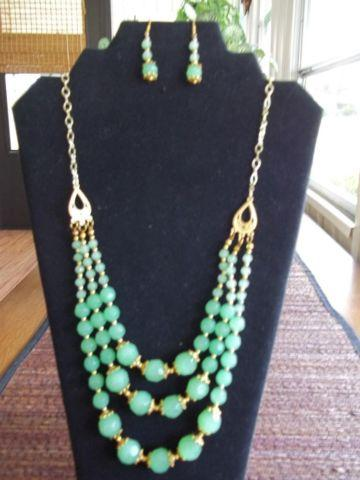 Hand Made and Glass Beads,Triple Layer Necklace and