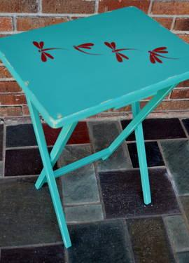 Hand Painted Folding TV Tray Table