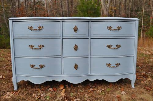 Hand Painted Vintage French Provincial 9 Drawer Dresser
