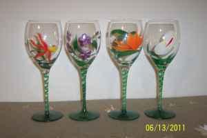 Hand painted wine glasses or goblets lexington for for Paint and wine lexington ky
