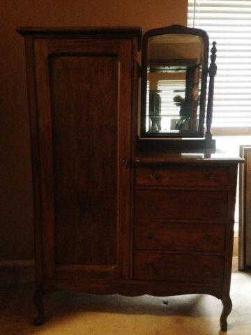 Handcrafted Antique Chifferobe Wardrobe Dresser With