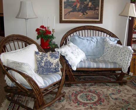 Handcrafted Cottage Cabin Willow Twig Furniture Loveseat Arm Chair