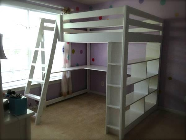 Handcrafted Full Size Loft Bed With Built In Bookcase And