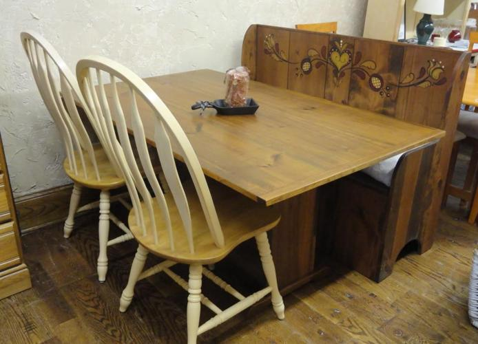 Handmade HUTCH TABLE and STORAGE BENCH w/ 2 CHAIRS -