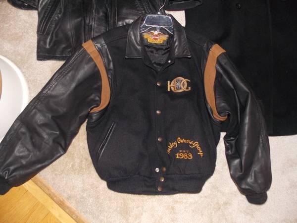 HARLEY DAVIDSON WOOL BLACK LEATHER MENS COAT JACKET MEDIUM - $35