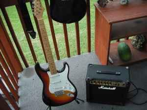 harmony strat w marshall amp and accessories louisville for sale in louisville kentucky. Black Bedroom Furniture Sets. Home Design Ideas