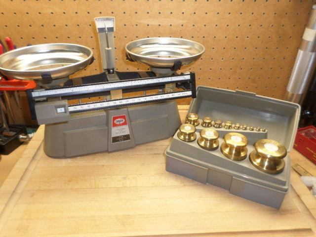Harvard Balance Scale with Ohaus Brass Weight Set Gold Silver Gems