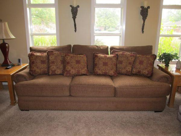 havertys distressed leather nailhead large sofa   Haverty's Sofa, 2 Chairs & Ottomans - (East Wichita) for ...