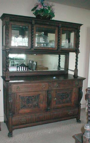 Heavily Carved Antique Oak Barley Twist Buffet with Hutch