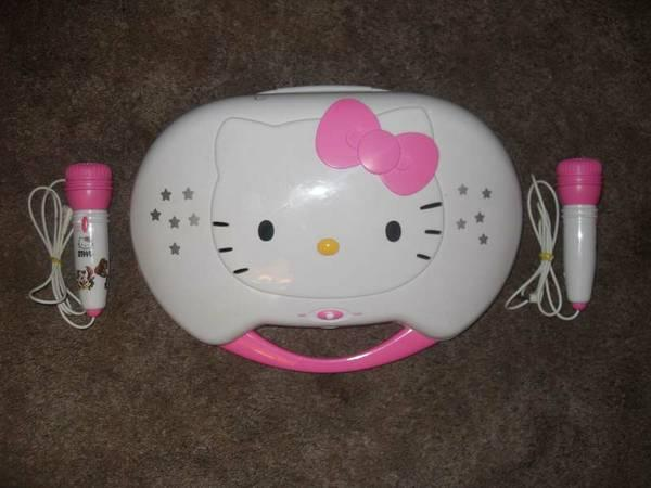 Hello Kitty Pink and White Karaoke System and CD Player - $30