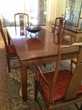 Henredon Pan Asian Dining Room Set With China Cabinet For Sale In