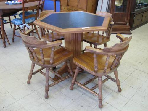 Hexagonal Oak Table With 4 Oak Chairs For Sale In Fort