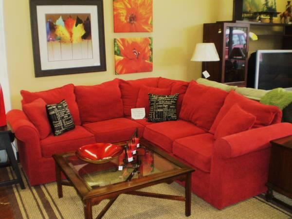 Captivating Hickory Hill Red Sectional Twin Sleeper Sofa   $999