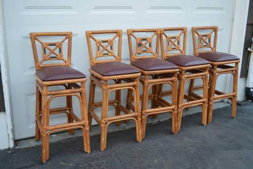High-end authentic bamboo  leather bar chairs  dining office chairs