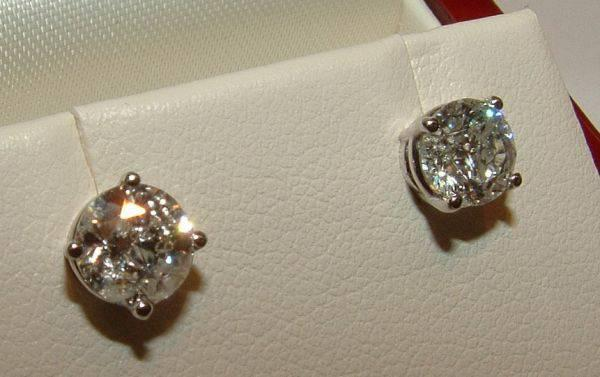 His Hers Solitaire 2 02 Carat Natural Diamond Earrings