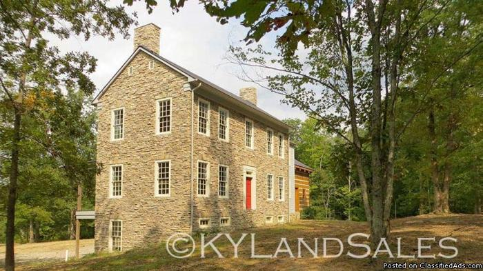 Historic Style Stone Home Log Cabin Addition 40 Acres For