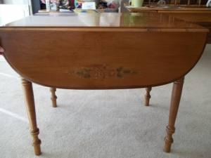 Hitchcock Maple stenciled drop leaf table - $200