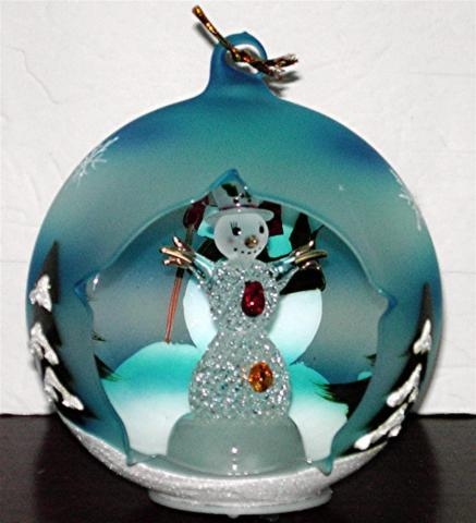 Holiday Lighted Glass Snowman Globe by Sorelle