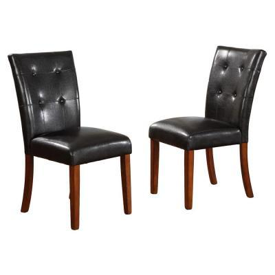 Home decorators collection 18 in h black tufted leather for Black leather parsons chairs