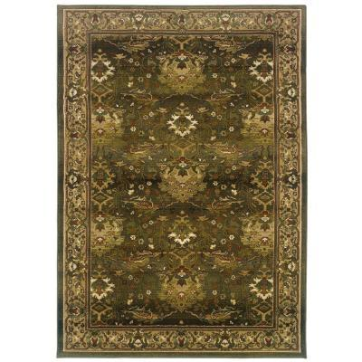 Home Decorators Collection Expressions Peace Hunter Green 4 Ft X 5 Ft 9 In Area Rug For Sale
