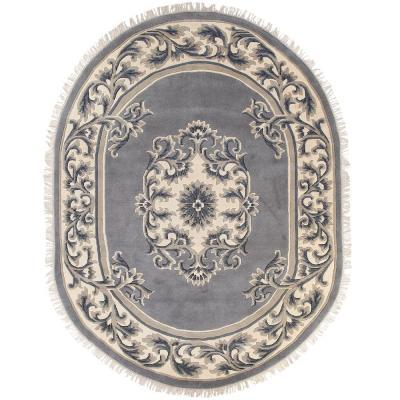 Home Decorators Collection Filigree Aubusson All-Over Blue 7 ft. 6 in. x 9 ft. 6 in. Oval Area Rug