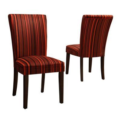 Home Decorators Collection Red Stripes Print Side Chairs Set Of 2 For Sale