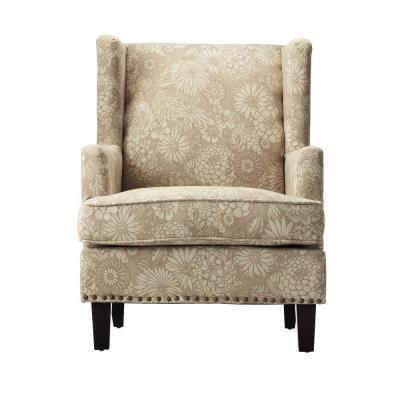 Home Decorators Collection Vincent Oat Fabric Wing Back Arm Chair