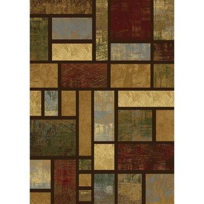 Home Dynamix City Blocks Brown-Multi 7 ft. 8 in. x 10 ft. 2 in. Area Rug