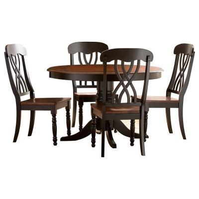 HomeSullivan 5 Piece Round 2 Tone Finish Dining Table Set For Sale In
