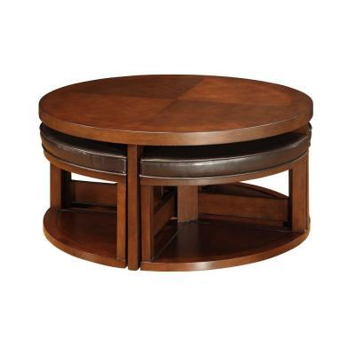 Homesullivan Brown Cherry Round Cocktail Table With 4