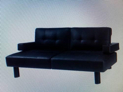 Hometrends Connectrix Futon Black Faux Leather For In Indianapolis Indiana