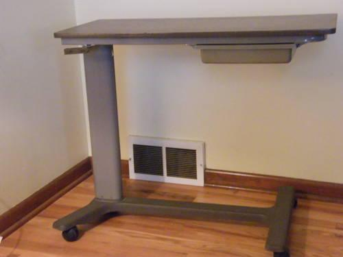 Hospital Over The Bed Table With Storage And Mirror For