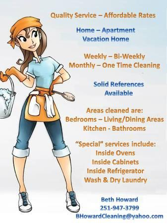 Housecleaning Service - No time to clean? Call Me....I