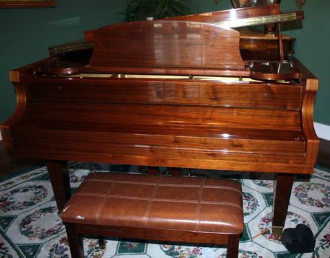 Howard Baldwin C171 Small Baby Grand Piano Pecan Finish