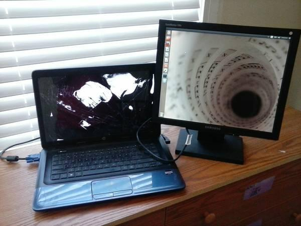 HP 2000 Laptop cracked screen, but comes with 17 Samsung Flatscreen Monitor