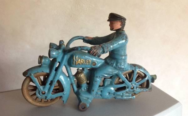 HUBLEY ANTIQUE TOY HARLEY DAVIDSON MOTORCYCLE 1 CYLINDER CAST IRON - $525