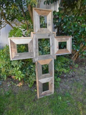 Huge Barnwood Country Rustic Cross Picture Frame For Sale In