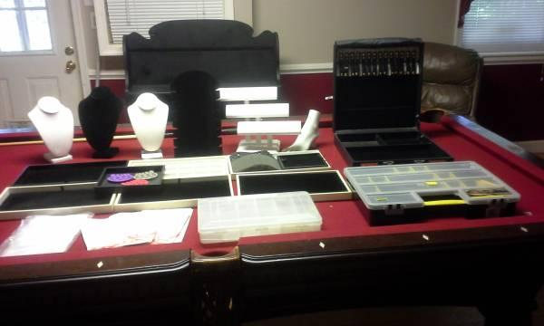 Huge lot of jewelry displays, trays, case, etc. - $150