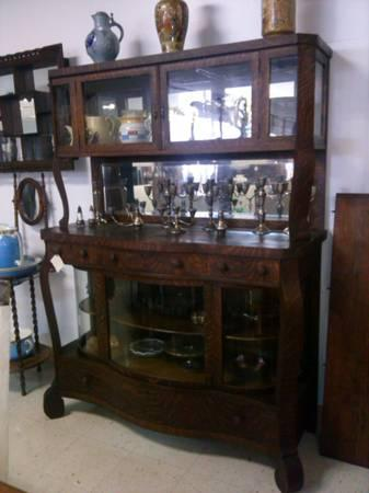 HUGE Tiger Oak Bow Front Serpentine Buffet Sideboard China Cabinet - $2995