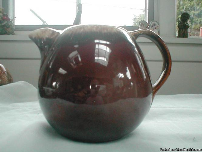 HULL BROWN DRIP PITCHER w ICE LIP 5.25 x 7.25