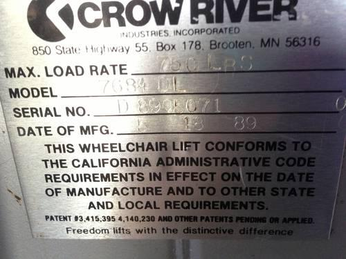 crow river wheelchair lift manual