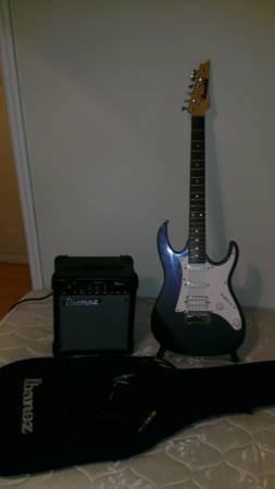 Ibanez Electric Guitar, Amp & Stand - $100
