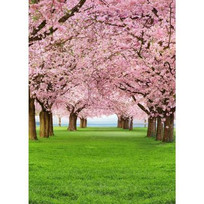 Ideal Decor 100 in. x 0.25 in. Cherry Trees Wall Mural