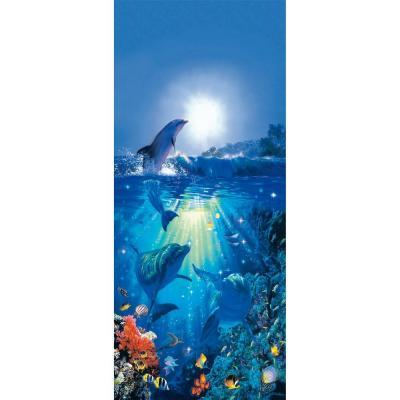 Ideal Decor 79 in. x 0.25 in. Dolphin in The Sun Wall