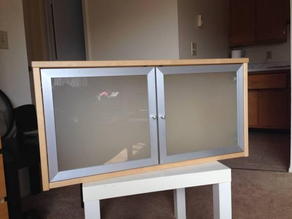 Ikea Birch Wall Cabinet W Frosted Glass Doors For Sale In North